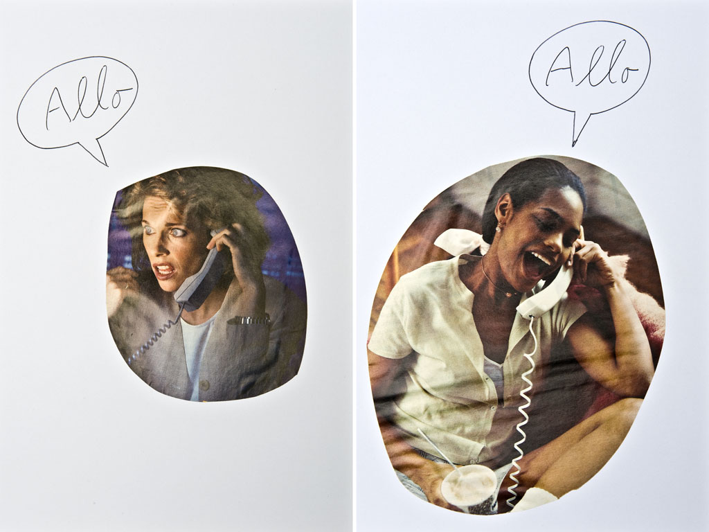 Claude Closky, 'Allo', 1996, blue ballpoint pen and collage on paper, 30 x 560 cm (28 sheets 30 x 20 cm each).